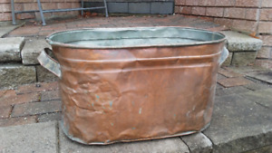 Oblong Copper Boiler Wash Tub with Metal Handles