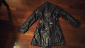 Girls size small navy blue lined coat