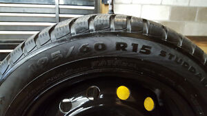 195 60 15 winter tires with 4x110mm rims London Ontario image 1