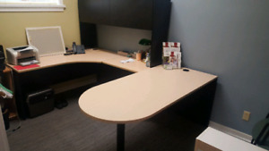 Office chairs, desks, shelves, printer, filing cabinets, carts