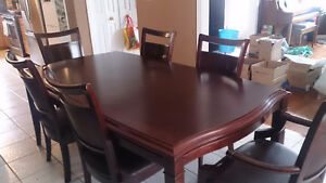 Solid Wood Dining Table with Matching Cabinet