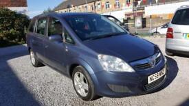 2009 58-Reg Vauxhall Zafira 1.6i 16v Petrol Exclusive 7 Seater Blue 5 Doors MPV