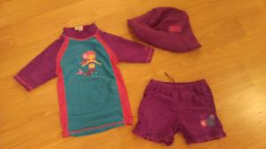 Girls UV Skins 3 pc Swim Suit - 4T