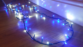 Blue and white fairy lights