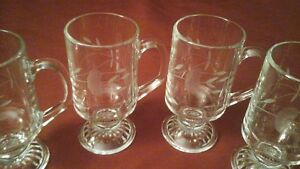 ETCHED FOOTED GLASS MUGS (4) - HERITAGE - PRINCESS HOUSE