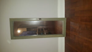 Reclaimed wood mirror with original hardware