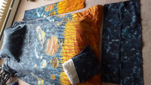 "Boys twin bedding set with ""matching curtains-never used"""