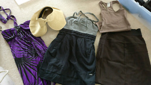 Clothing sale. Summer hat and dresses