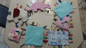 Minky taggy blankie toy for new borns