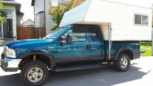 2000 F250 4x4 with lightweight truck camper combo $7000 OBO