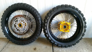Spoked wheels, tires & brake rotors for Suzuki V-Strom Edmonton Edmonton Area image 1