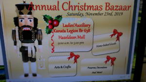 ANNUAL CHRISTMAS BAZAAR HOSTED BY LADIES' AUXILIARY BRANCH 638