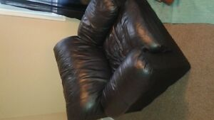 Black leather couch and chair set $150 OBO