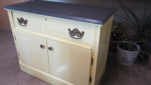 Yellow And Black One-Drawer Cupboard