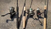 three rods and reels
