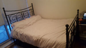 Ikea Metal black bed frame (wooden box spring included)!