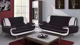 BRAND NEW *** CAROL 3 AND 2 SEATER SOFA PU LEATHER SOFA IN BLACK BROWN WHITE AND CREAM