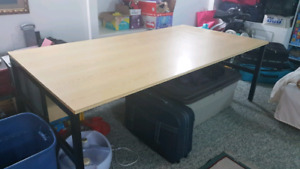 Large wood table with steel legs
