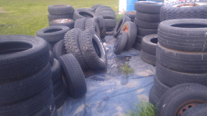 Assorted used tires.
