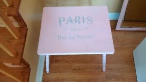 refinished pink paris side table