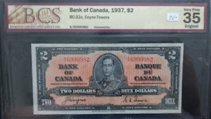 Canadian 1937  2 Dollars Bank Note