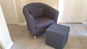 IKEA Tullsta tub chair and footstool