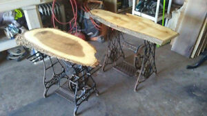 Antique sewing machine bases with walnut/maple tops