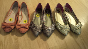 3 pairs of ballet flats
