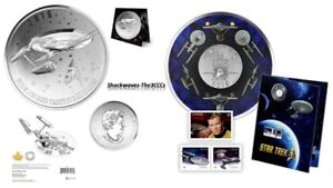 2016 Silver ENTERPRISE Coin & 25 Cent STAR TREK Coin with Stamps