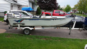 16' Lowe Boat w/ cover, 2 motors and trailer for sale