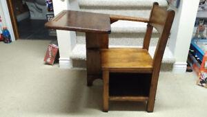 Excellent Antique 1940s Hardwood School Desk