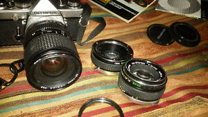 OM1 Vintage Olympus Set with Lenses and Winder