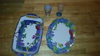 Beautiful Patio Table cup  and tray set
