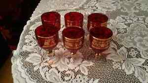 BOHEMIAN CRYSTAL STEMED RED GLASSES