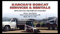Bobcats for rent only 3ft wide to full size machines