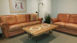 Natuzzi Leather Sofa & Love Seat