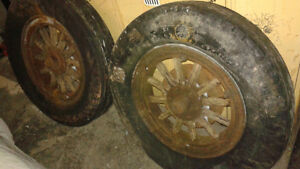 "PAIR OF ANTIQUE WOODEN SPOKED 20"" RIMS WITH BRAKE DRUMS"
