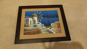 Original oil painting of island in Greece