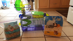 Hamster/Gerbil Cage, bedding and food