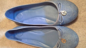 Blue Tory Burch Leather Chelsea stitched ballet flat