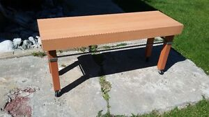 BENCH. ANTIQUE BATH BASIN. SIDE TABLE WINE STAND. 2 END TABLES
