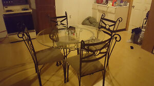 Glass kitchen table set with 4 chairs