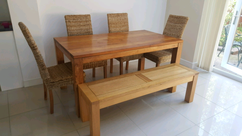 Enjoyable Solid Oak Table Not The Bench 4 Rattan Chairs In Burnage Manchester Gumtree Forskolin Free Trial Chair Design Images Forskolin Free Trialorg