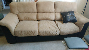 Couch faux leather beige