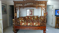 Antique Canopy Bed with Mother of Pearl