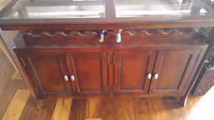 Solid wood hutch with glass top