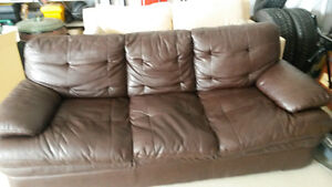 Couch Brown leather 3 pieces set