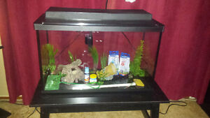 29 gal fish tank with items and coupons