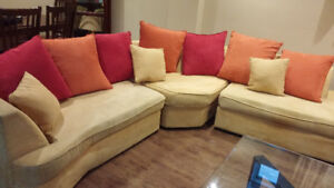 Sectional sofa in bright colours
