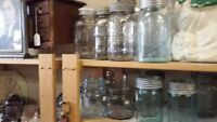 ANTIQUE FRUIT JAR COLLECTION purple blue green clear